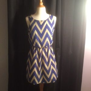 Tan and blue dress, gently used, good condition